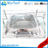 燃料のホールダーとの販売のための電気分解のステンレス鋼贅沢なロール上のガラスふたの細長い摩擦皿