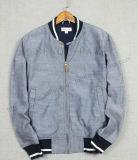 Jean-waschende Baseball-Umhüllungen-Kleidung mit Rippe in der Mann-Kleidung Fw-8745