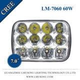 10-50V 7 pulgadas - luz del trabajo del carro LED del poder más elevado 60watt
