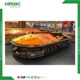 Supermercado de vegetais de madeira e escadas de prateleiras de exibição de frutas com prateleira de extremidade