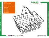 Panier à provisions en métal de supermarché avec des traitements
