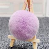 方法本物の多彩なウサギの毛皮の球のキーホルダー