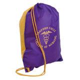 Sac de cordon en nylon promotionnel bon marché fait sur commande, sac de cordon de polyester