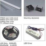 Luz del canal del LED, canal de aluminio del perfil, canal ligero de tira