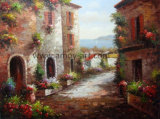 Casa Do Mediterrâneo pintura a óleo 100% manual pintada na China