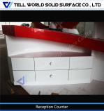 Adaptado de acrílico blanco y rojo Superficie sólida Recepción mobiliario