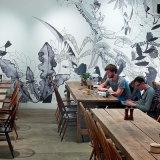 Pintura mural bonita do papel de parede da etiqueta e da parede dos fundos para o restaurante do envoltório do vinil