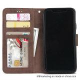 Caixa de couro anexada magnética do telefone da carteira do plutônio para o iPhone X