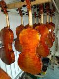 À la main d'huile de violons avec une belle flamme sur le dos de l'érable, le côté, le cou&Faites défiler jusqu'