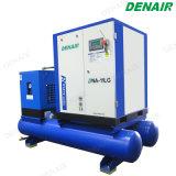 Compresor montado compacto del tornillo con el tanque/el receptor y el secador del aire