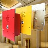 As mãos livram do elevador impermeável áspero do telefone do telefone o telefone Emergency