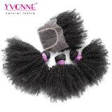 Extension de cheveux brésiliens de gros et de fermeture 3 Bundles Afro Kinky curl