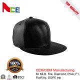 Cappello su ordinazione di Snapback del cuoio genuino di marchio del ricamo di alta qualità con la cinghia di cuoio