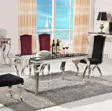 Tabella pranzante di marmo del nero domestico elegante della mobilia