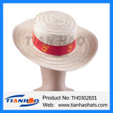 Moda Boater Chapéu de Palha de trigo com o logotipo personalizado