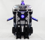 Passeio dos miúdos no carro do robô com função da transformação