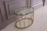 居間のステンレス鋼フレームが付いている現代円形のガラスコーヒーテーブル