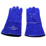 Croûte de cuir de vache bleu Intérieur entièrement doublé de gant de travail de soudage