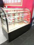 O mármore novo do preto da forma curvou o refrigerador do frio do indicador de Pasrty do refrigerador do indicador do bolo da porta