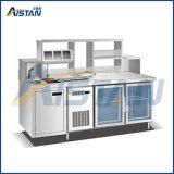 단 하나 수채, 차 배럴 프레임을%s 가진 St05 스테인리스 Refrigered 바 냉장고 작업대