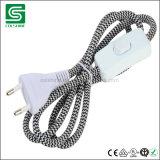 Luz elétrica do pendente do fio do algodão do cabo da cor do cabo da tela de matéria têxtil