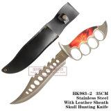 Facas táticas fixas das facas de caça da lâmina dos furos de dedo com couro 35cm HK983-2
