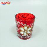 أحمر فضة أسلوب زيّن [رهينستون] زجاجيّة مرطبان شمعة لأنّ عيد ميلاد المسيح