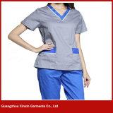 Uniformes blancs de soins de couleur d'hôpital fait sur commande (H1)