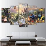 A arte modular da parede da lona de pintura retrata a decoração Home posteres modernos da cópia da sala de visitas da besta da beleza do castelo do filme dos desenhos animados de 5 partes