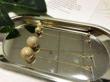 독점적인 보석 실제적인 금에 의하여 도금되는 빈 금속 구슬 바위 같은 귀걸이