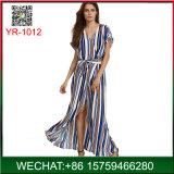 China-Hersteller-Frauen-Sommer-Streifen V-Stutzen langes Kleid