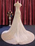 El cortocircuito envuelve el cordón de la sirena y el vestido de boda largo Chiffon de la alineada