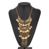 Halsband van de Verklaring van de Slab van het Muntstuk van de zigeuner de Boheemse Uitstekende Gouden Turkse Kiezelachtige