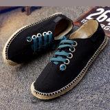 Sandálias com cordões das sapatas ocasionais dos planos da alpergata das mulheres