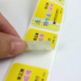 ロールのカスタマイズされた中国の専門の製造業者のカスタム印刷の透過ラベルのステッカーのラベル