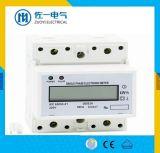 Счетчик энергии провода рельса 4 DIN модуля фабрики 7 ISO 9001 трехфазный с обратным индикатором