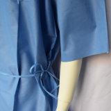 Vestido paciente azul disponible de SMS con las fundas cortas, lazos de la cintura en la cara