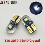 Lumière en cristal lumineuse superbe de cale de côté du véhicule T10 3030 2SMD des ampoules W5w 194 des silicones DEL de véhicule
