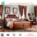 Doppeltes Bett-festes Holz-und Leder-Bett des König-Size