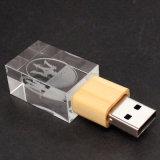 Alta qualità e buon prezzo del USB dell'a cristallo dell'oro del bastone del USB con l'azionamento chiaro del USB di memoria Flash del LED (UL-C003)