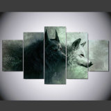 5 panels hp printed Animal Two wolf Painting Canvas print Room Decor print poster Picture Canvas Ny-039