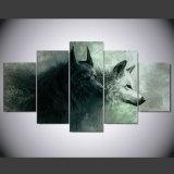 5つのパネルHDは動物2のオオカミの絵画キャンバスの版画室の装飾プリントポスター映像のキャンバスNy-039を印刷した