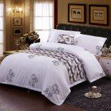 Hôtel doux draps de lit fixe de couleur blanche avec motif imprimé