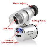 Mini 60X индикатор УФ лампа карманный микроскоп ювелир Loupe Экранная лупа