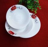 빨간 꽃 원형 식기/세라믹 격판덮개