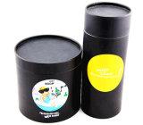 precio de fábrica de cilindro único café negro Embalaje Caja de té con una tapa para la venta cp1033