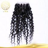 閉鎖が付いている実質の加工されていないインドの巻き毛の波の人間の毛髪