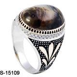 Novo Design 925 jóias de prata Ágata homens anel com pedra CZ.