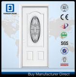 Cristal Oval inserta American Prehung Exterior blanco de la puerta de acero interior
