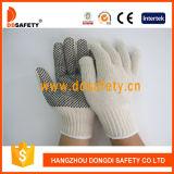 Естественный PVC Knit 4thread шнура полиэфира хлопка черный ставит точки одна перчатка Dkp408 стороны работая